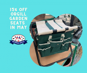 Orgill Garden Seat savings!Stop by our stores in Wichita Falls and Bowie and enjoy 15% off Origll Garden seats in May at Berend Bros.